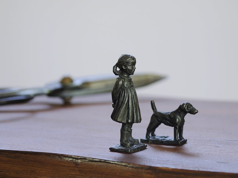 bronze girl and dog