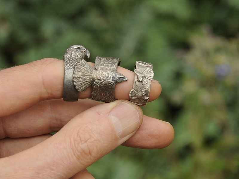 silver rings of nz native birds